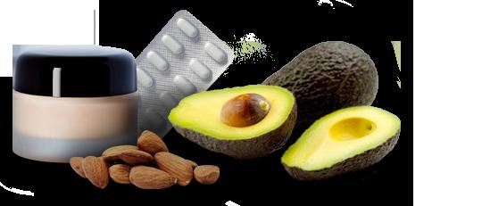 Bilde av vanlige typer av allergier: hudkrem, nøtter, avokado, tabletter