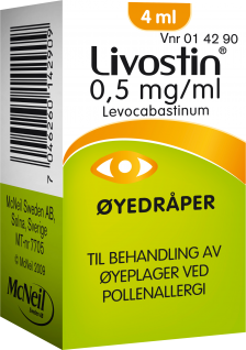 Livostin 0.5mg/ml øyedråper for pollenallergi